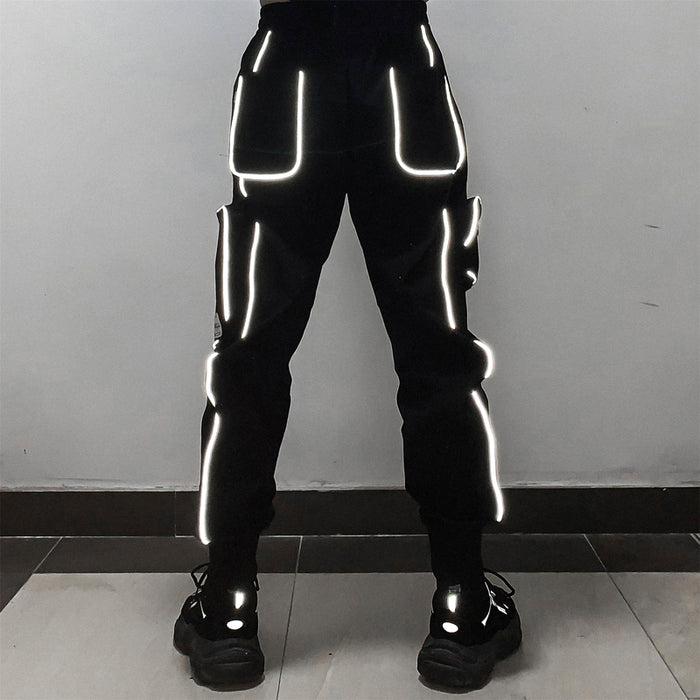 Japanese Diablo Reflective Trendy Men's Pants with Loose Feet