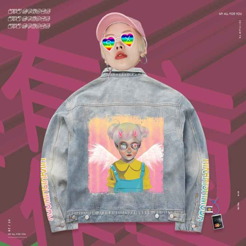 Retro Dazzling psychedelic angel figures 90s Denim Jacket