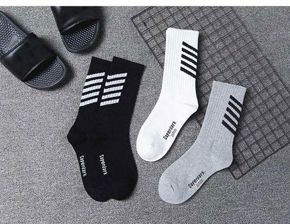 3 Pairs Striped SuperDark Cotton Socks