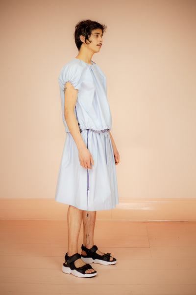 BABY BLUE WRAP SKIRT BY PEDRAM KARIMI