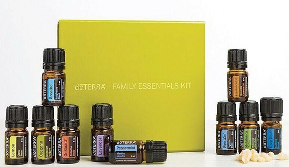 doTERRA The Family Essentials Kit. Top 10 X 5ml Essential Oils Gift Box - Anahata Green