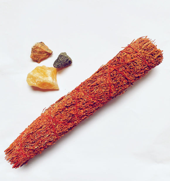 22.5cm Large Dragons Blood Smudge Stick Smudging Purification & Meditation - Anahata Green