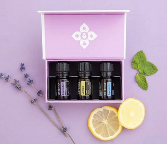 doTERRA Introductory Kit Peppermint Lemon Lavender Essential Oils Box Gift - Anahata Green
