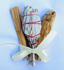 "2x Palo Santo 30 grams & 1x White Sage 4"" Smudge Sticks Ethical Meditation - Anahata Green LTD."