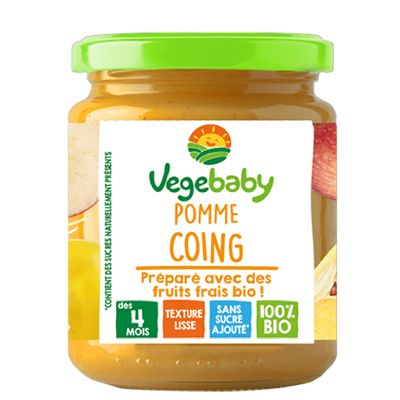 Vegebaby Pot Pomme Coing 120 G