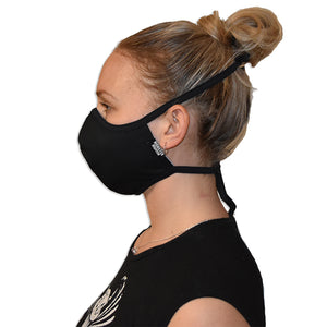 washable reusable mask with ties all black