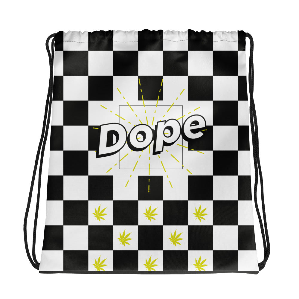 420 Gym Bag Black and White Racing Checkers Biker Bag | Stoner Gift