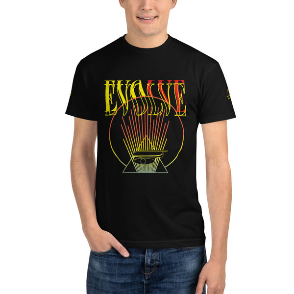 Evolve Fire Mens Sustainable Black T-shirt All Seeing Eye  T-Shirt