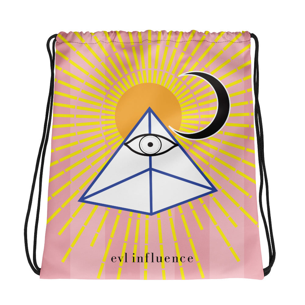 Pink Designer Bag Drawstring GymBag All Seeing Eye Pyramid Sun and Moon Print Made in USA Limited Edition
