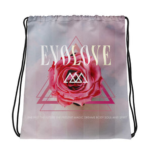 Rose Logo Bag Drawstring GymBag Sacred Gometry Clothing Evolve Slogan Made in USA Limited Edition