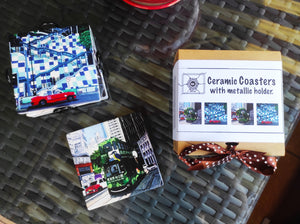 Coasters - Ceramic Coasters with metallic holder (set of 4)