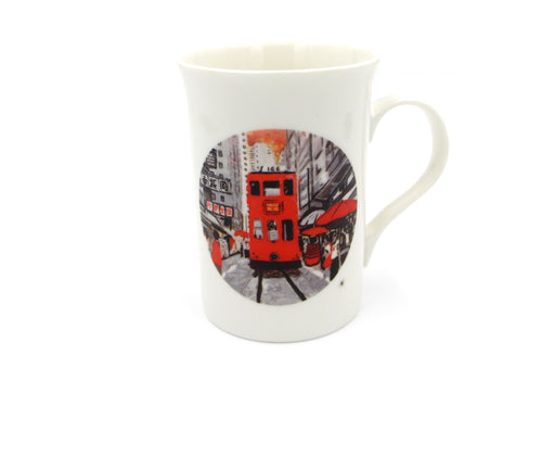 Hongkong Tram road Bone China Mug Printed