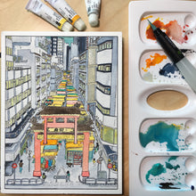 "Load image into Gallery viewer, Original watercolor framed ""Beautiful Hong Kong"" : Temple Street"