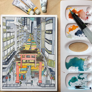 "Original watercolor framed ""Beautiful Hong Kong"" : Temple Street"