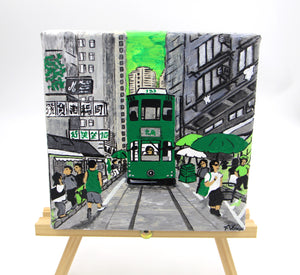 "Acrylic Painting ""Hong Kong Tram road"" - 3 variants"
