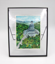 "Load image into Gallery viewer, Original watercolor framed ""Beautiful Hong Kong"" : Tian Tan Buddha"