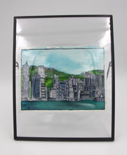 "Load image into Gallery viewer, Original watercolor framed ""Beautiful Hong Kong"" : Skyline"