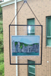 "Original watercolor framed ""Beautiful Hong Kong"" : Skyline"