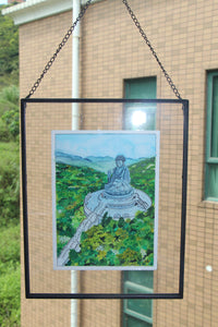 "Original watercolor framed ""Beautiful Hong Kong"" : Tian Tan Buddha"