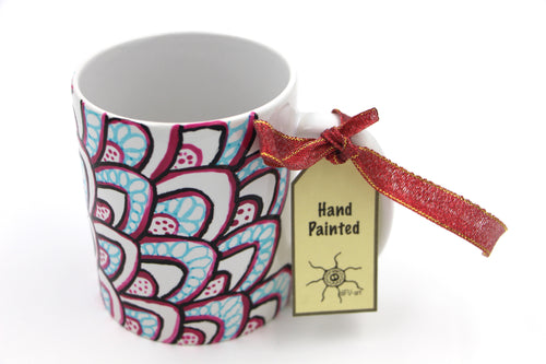 Handpainted Mug : Petals waves