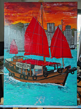 "Load image into Gallery viewer, Acrylic Painting ""Hong Kong Skyline and Junk boat"""