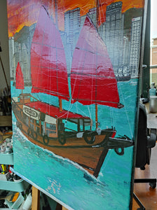 "Acrylic Painting ""Hong Kong Skyline and Junk boat"""