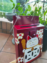 Load image into Gallery viewer, Mailbox : Lucky cat on Red Garance Background