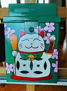"Green Mailbox "" Lucky cat """