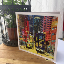 "Load image into Gallery viewer, Greetings Cards ""Hong Kong Trams road"""