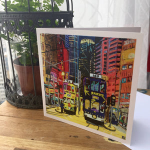 "Greetings Cards ""Hong Kong Trams road"""
