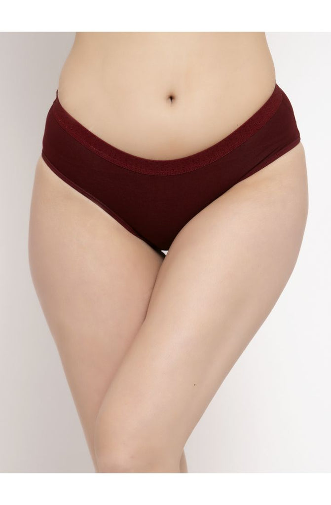 Hipster Brief 3 PC Pack Solid Colors Maroon