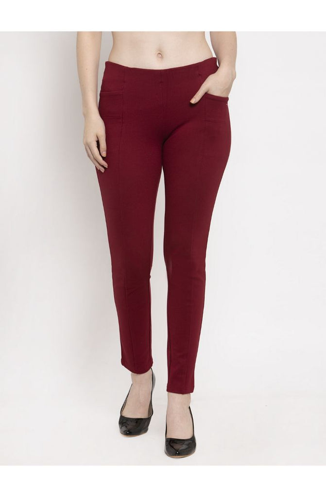 Maroon trouser pants for ladies