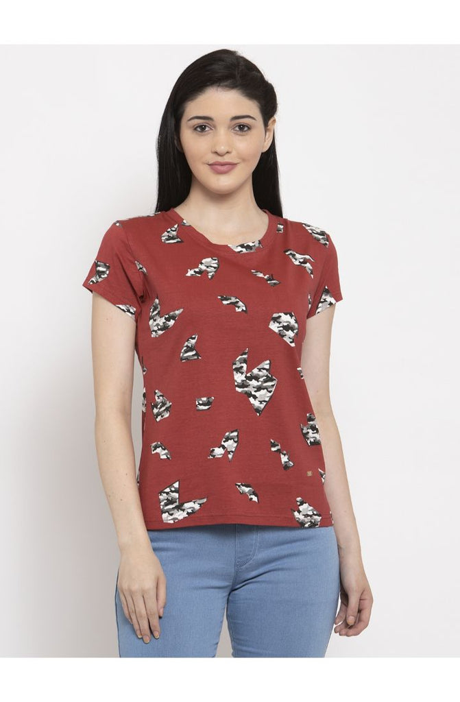Camo Red Round Neck T-Shirt Organic Cotton All Over Print