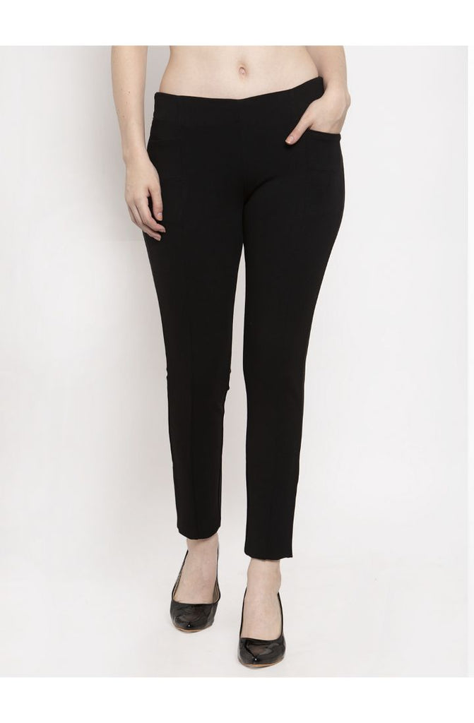 Narrow Fit Central Stitch Trouser Pant (SP01) - Black