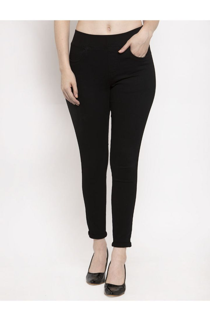 Stretchable Skinny Fit Denim Jeggings - Black