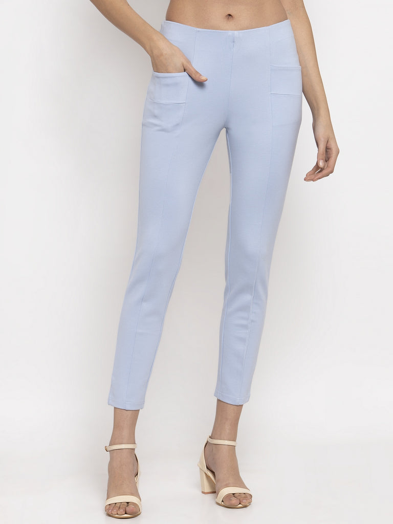 Narrow Fit Central Stitch Trouser Pant Sky Blue