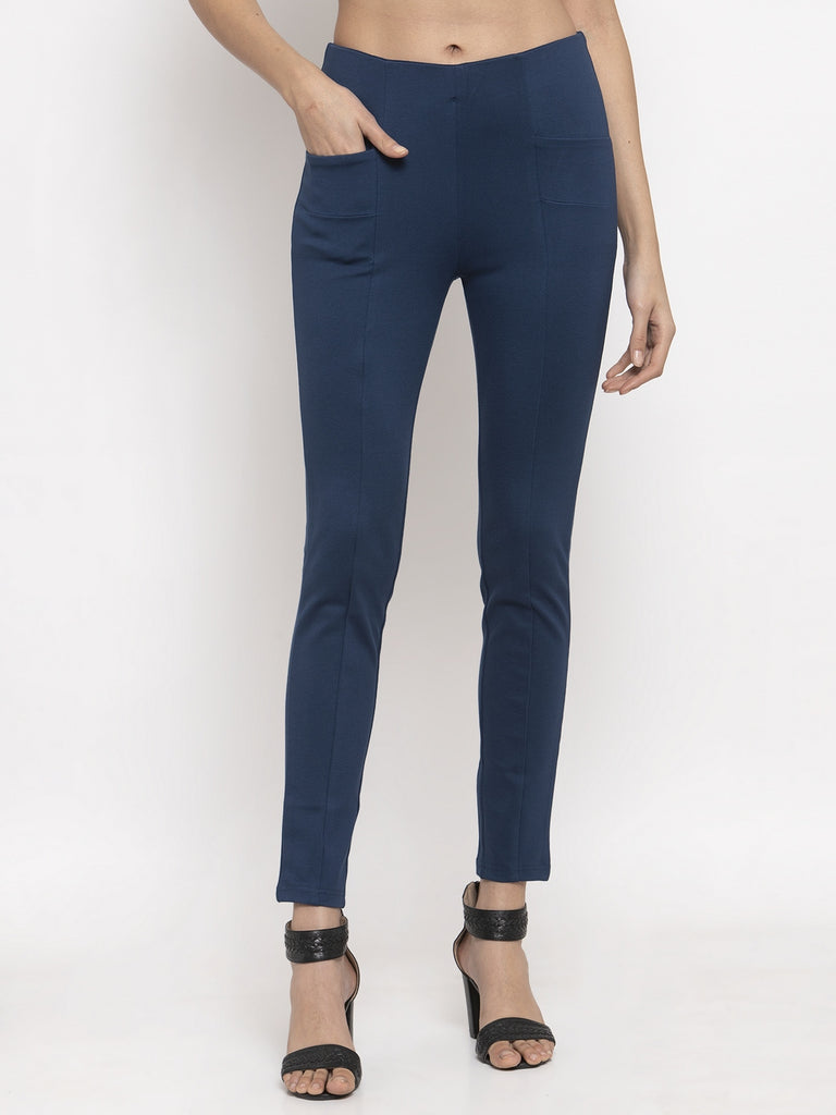 Mid rise Airforce Blue Trouser Pant