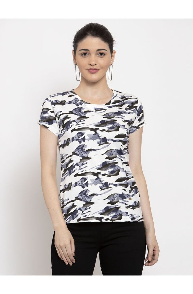 Military White Round Neck T-Shirt
