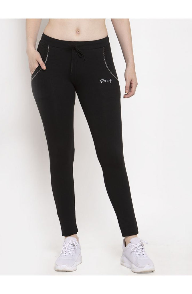 black yoga track pants