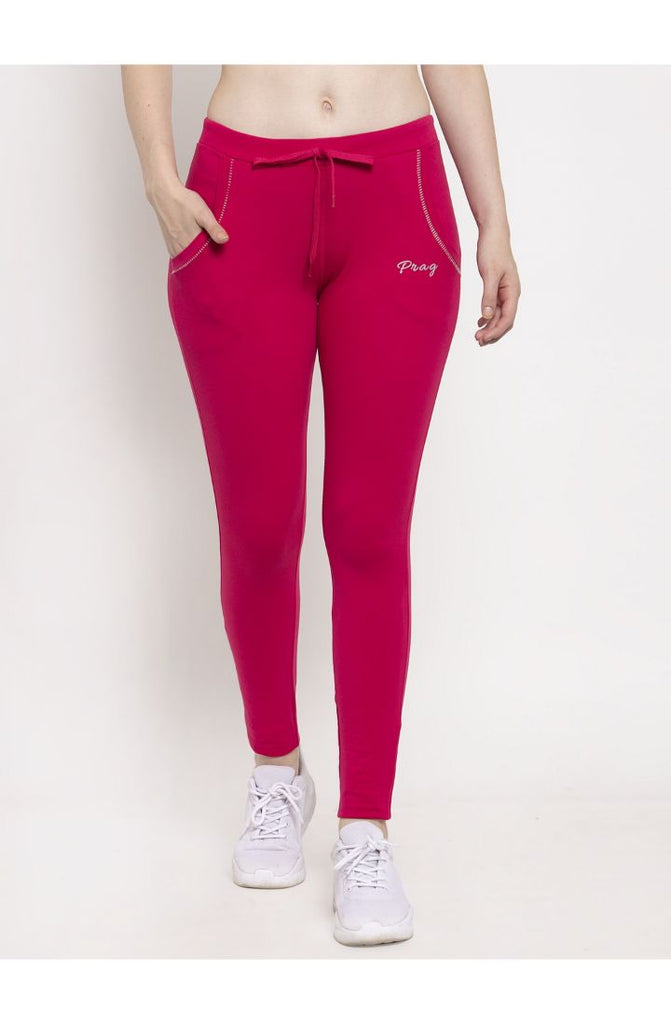 Pink Cotton Stretch Yoga Pant
