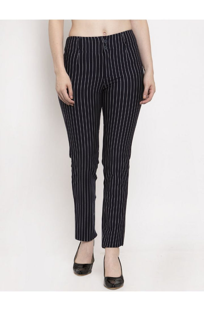 Navy Stripped Straight Fit Trouser Pant