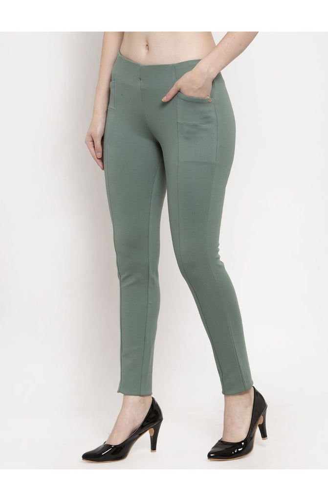 Green Narrow Fit Central Stitch Trouser Pant