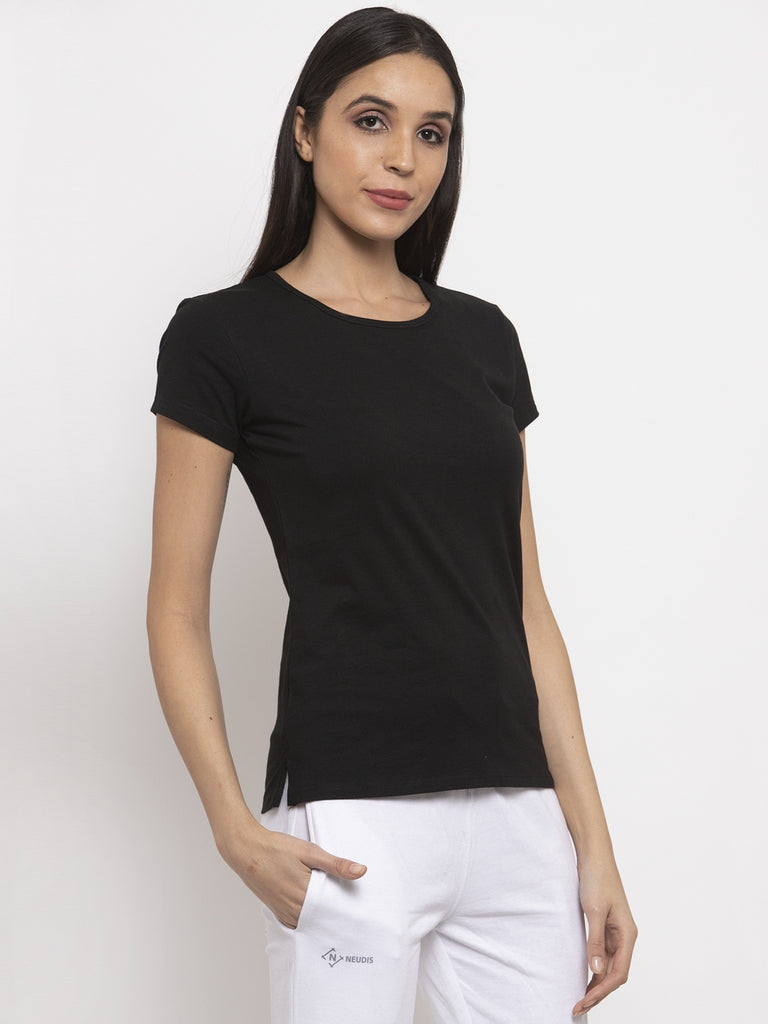Black Round Neck Double Layered T-Shirt