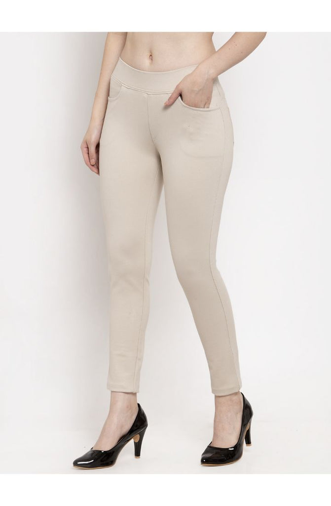 Beige Narrow Fit Trouser Pant