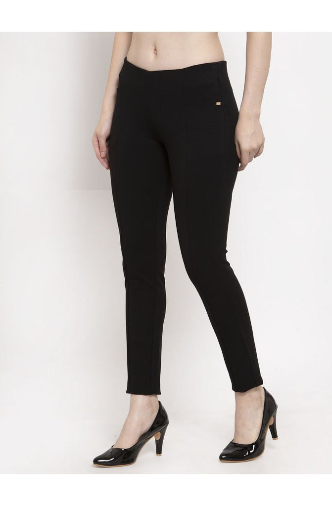 Black Narrow Fit Central Stitch Trouser Pant