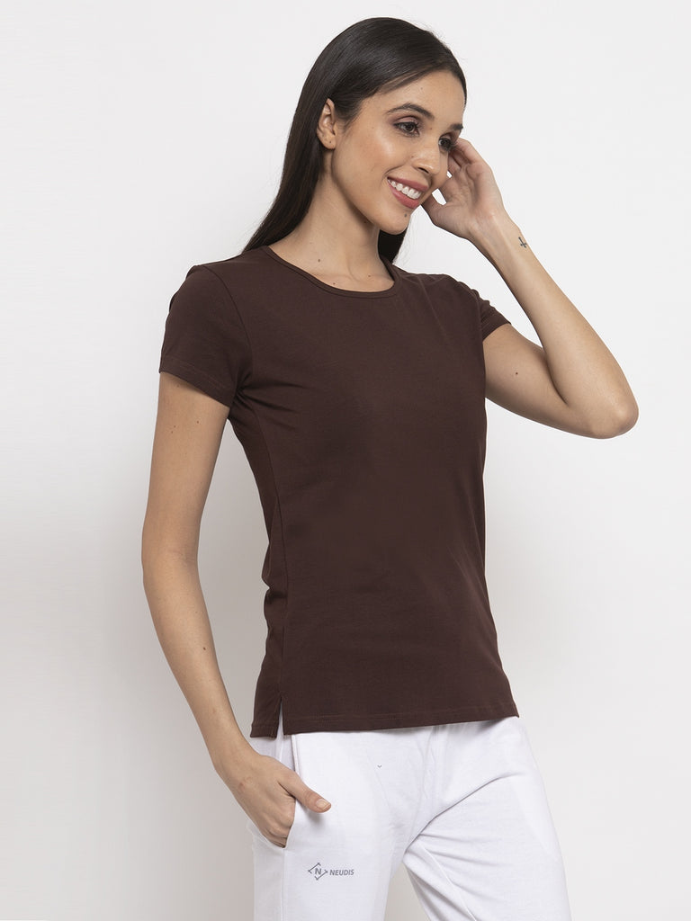 Brown Round Neck Double Layered T-Shirt