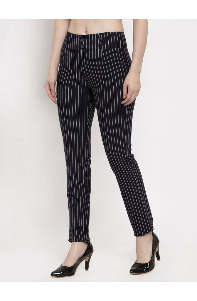 Shop for Navy Stripped Straight Fit Trouser Pant