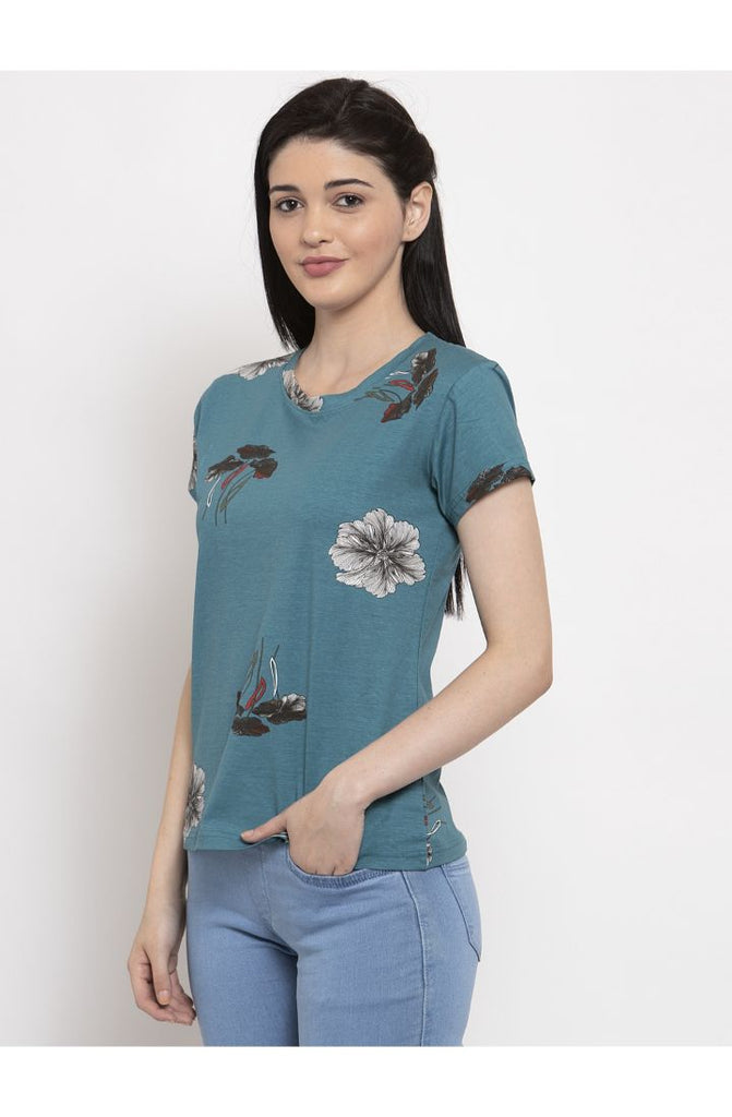 Ocean Round Neck T-Shirt with floral print