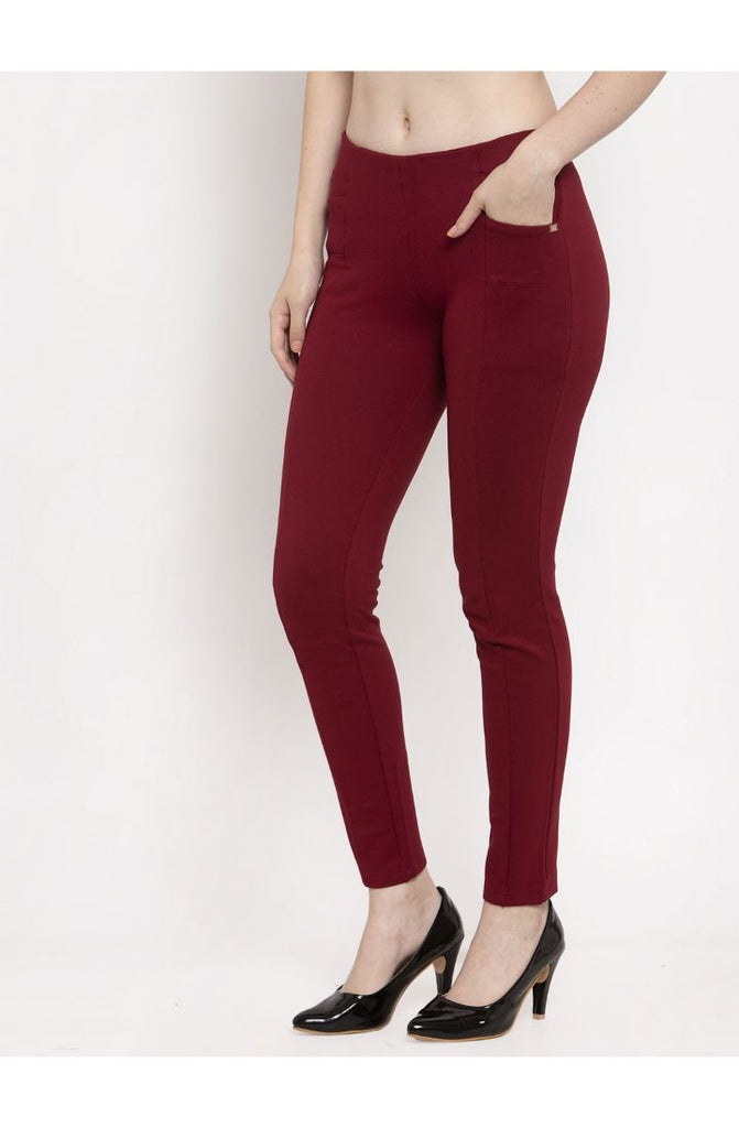 Maroon trousers for ladies