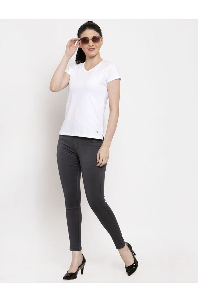 Stretchable Skinny Fit Denim Jeggings - Grey